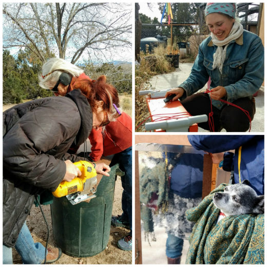 Making mirror shields for Standing Rock water protectors, Nov 2016